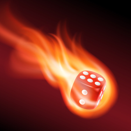 red dice: Red dice in fire. EPS10 vector.