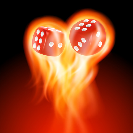 red dice: Two red dice in fire. EPS10 vector.