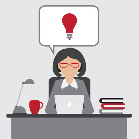 eureka: Business woman have an idea for startup with Eureka lamp in bubbletext. Flat design. vector.