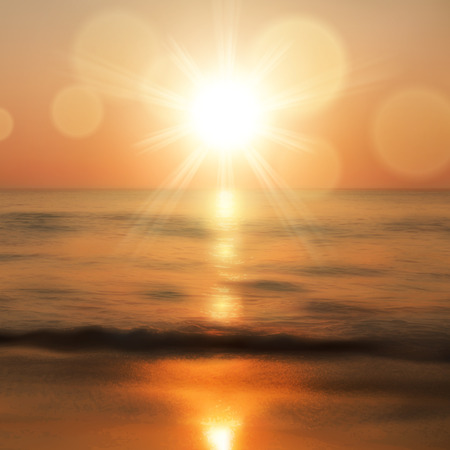 horizon over water: Sea sunset with the sun, light on lens. vector. Illustration