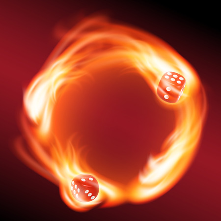 circling: Circling two red dice in fire. vector. Illustration