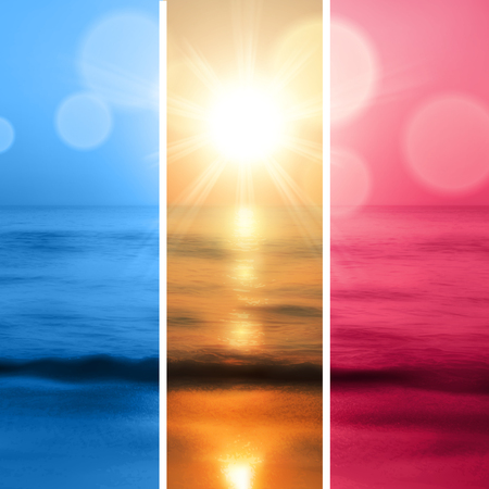horizon over water: Sea sunset with the sun in three color. vector.