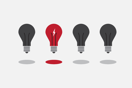 eureka: Abstract flat design lightbulbs. Eureka concept.  vector. Illustration
