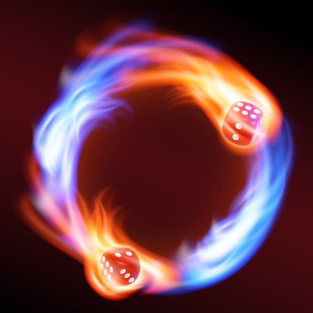 Circling two red dice in fire. vector. Illustration