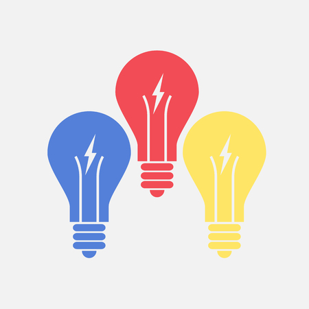 economical: Abstract flat design color lightbulbs. Eureka concept. vector.