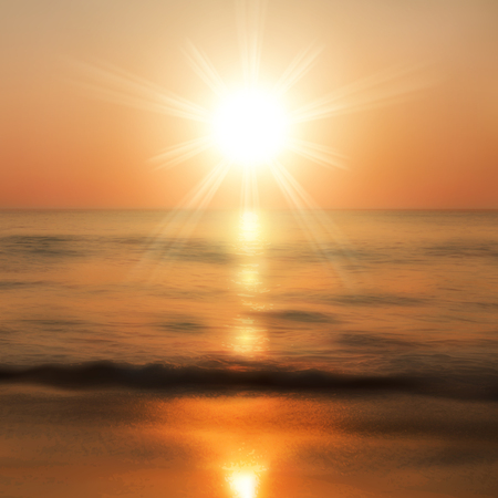 horizon over water: Sea sunset with the sun. vector.