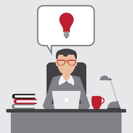 eureka: Business man have an idea for startup with Eureka lamp in bubbletext. Flat design. vector. Illustration