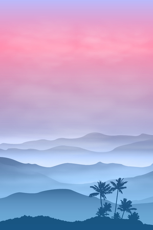 Background with palm tree and mountains in the fog. Sunset time. vector. Illustration