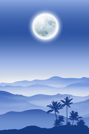 Background with fullmoon, palm tree and mountains in the fog. vector.
