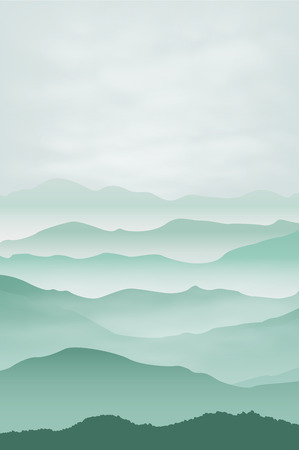 Mountains in the fog. Background. vector.