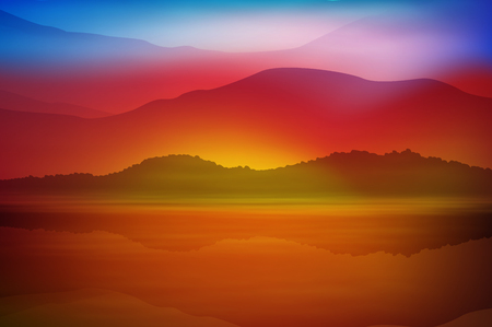 Background with sea and mountain. Sunset time. vector. Vettoriali