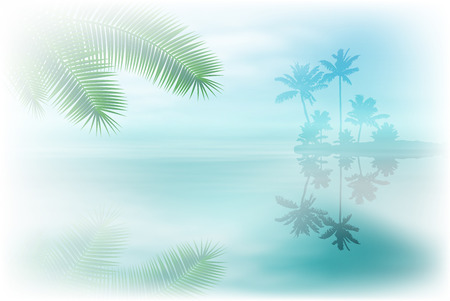 Sea with island and palm trees. vector.
