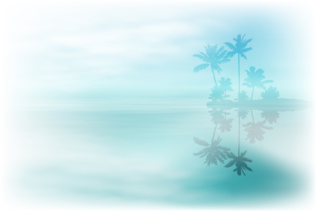 reverberation: Sea with island and palm trees. vector.