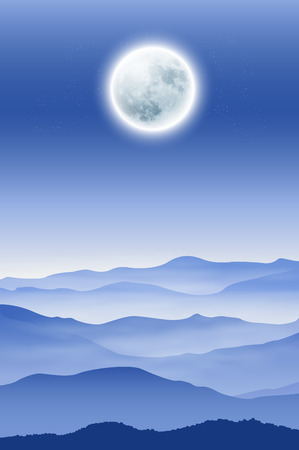 Background with fullmoon and mountains in the fog. vector.