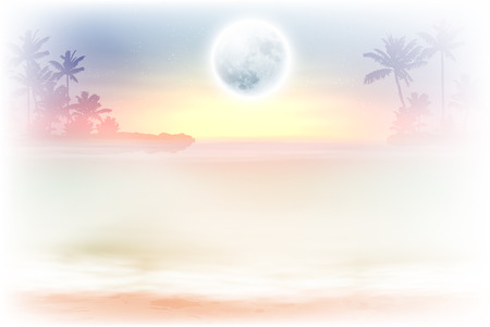 horizon over water: Beach with palm trees and full moon at night. vector.