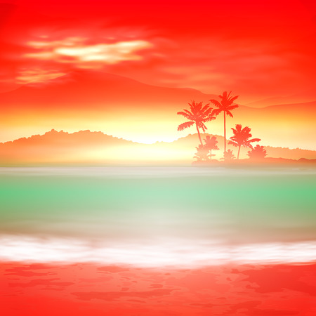 pink hills: Background with sea and palm trees. Sunset time.  vector.