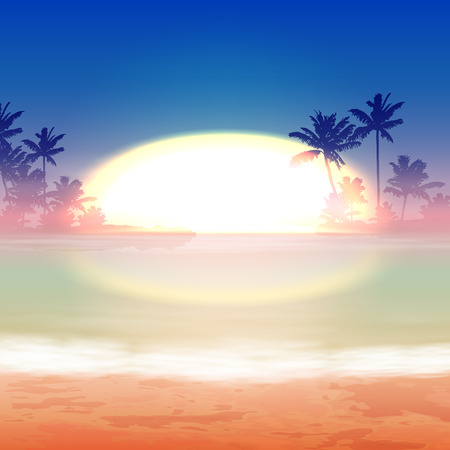 lake sunset: Sea sunset with palm trees. vector. Illustration