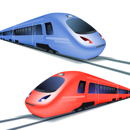 Set of red and blue high speed trains, isolated on white background. vector.