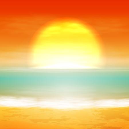lake sunset: Sea sunset with the sun. vector.