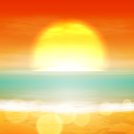 sunset beach: Sea sunset with the sun, light on lens. vector. Illustration