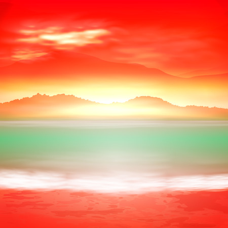 mountain sunset: Background with sea and mountain. Sunset time. vector. Illustration