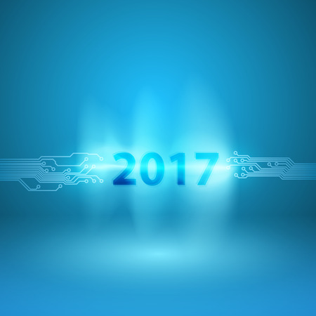 Abstract blue background with a circuit board texture and 2017 in current arc. EPS10 vector. Illustration