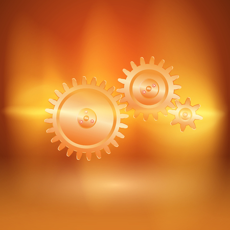 Abstract orange background with gear transmission in current arc. EPS10 vector.