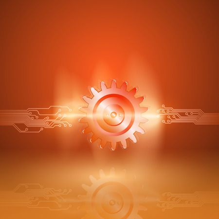 impulse: Abstract orange background with a circuit board texture and with gear in current arc. EPS10 vector.