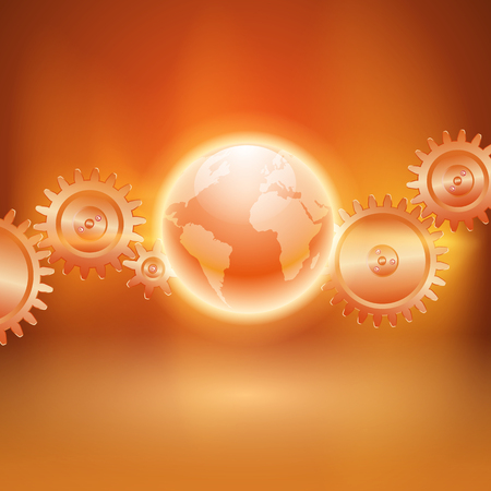 impulse: Abstract orange background with gear transmission and the globe. EPS10 vector. Illustration