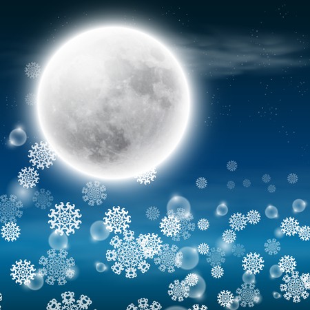 Winter night landscape with fullmoon. EPS10 vector.