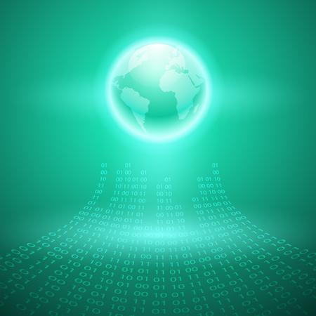 Stream of binary code to the globe. Illustration