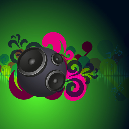 Abstract green vintage music background with round speakers. EPS10 vector. Illustration