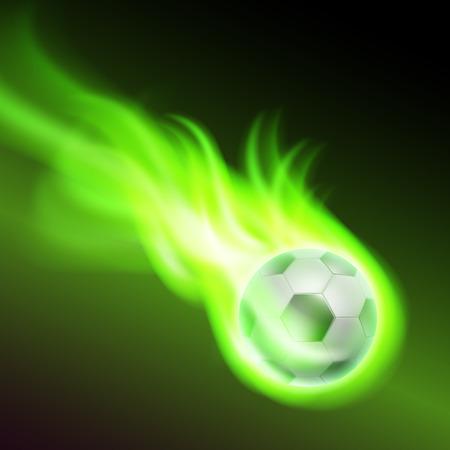 Burning football on green fire.