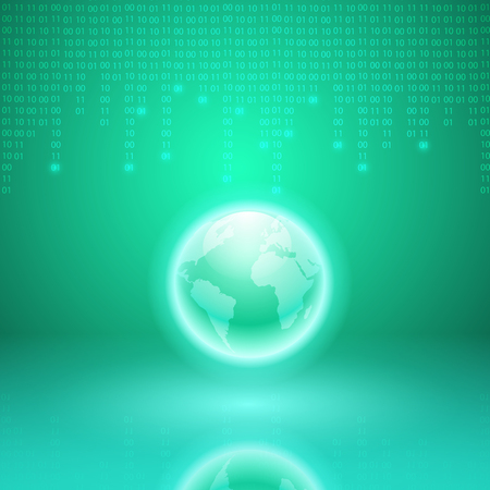 Stream of binary code with the globe. EPS10 vector cyan background.