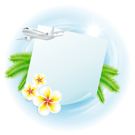 Concept travel illustration with airplane, globe, flowers and palm leaves, sticker for your text.. Travel concept for your business design. EPS10 vector.