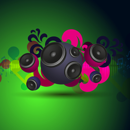 speakers: Abstract green vintage music background with round speakers. EPS10 vector. Illustration