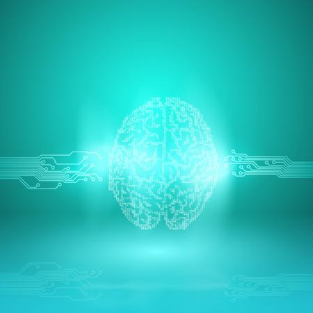Digital brain on cyan background.