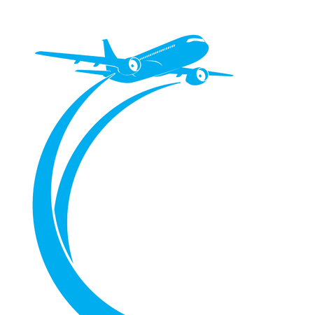 Blue airplanes silhouette on white background with place for text.