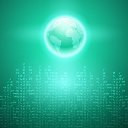 Stream of binary code to the globe. EPS10 vector cyan background.