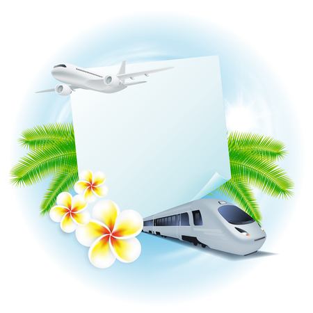 Concept travel illustration with airplane, train, flowers and palm leaves, sticker for your text. Travel concept for your business design. Illustration