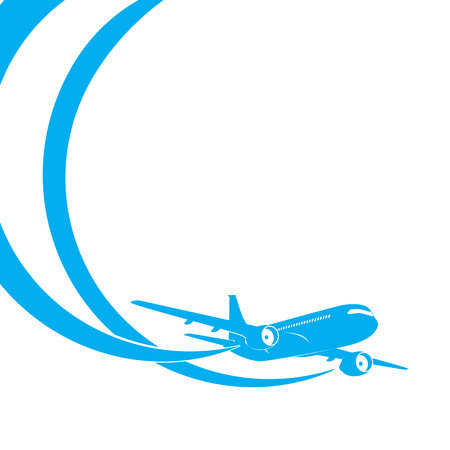 Blue airplane's silhouette on white background with place for text. EPS10 vector.