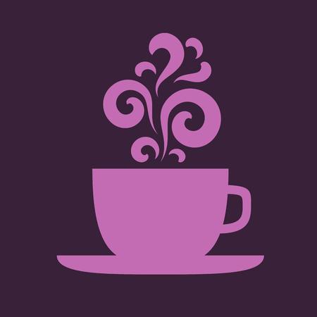 Cup with floral vintage purple design elements.