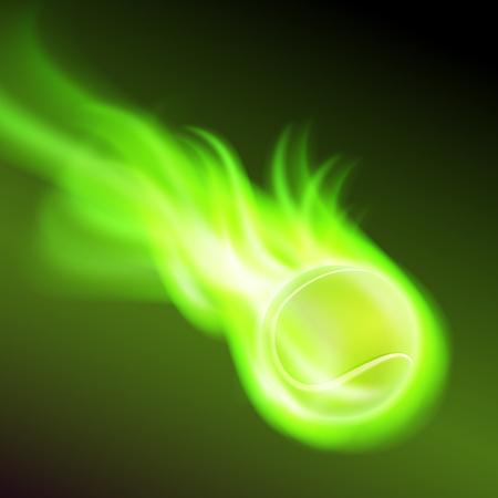 tennisball: Burning tennis ball on green fire. Illustration