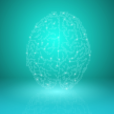 Digital brain on cyan background. EPS10 vector.