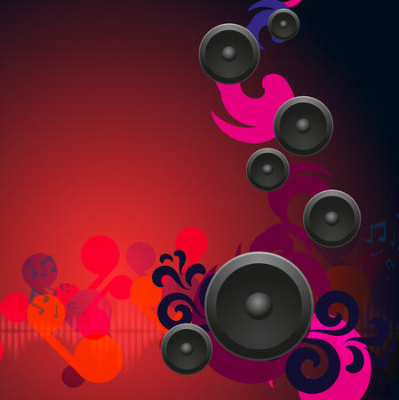 Abstract red vintage music background with round speakers. EPS10 vector.