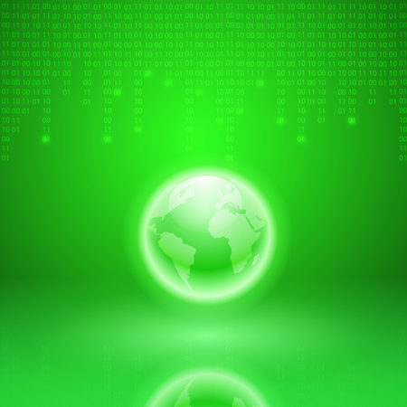Stream of binary code with the globe. EPS10 vector green background. Illustration