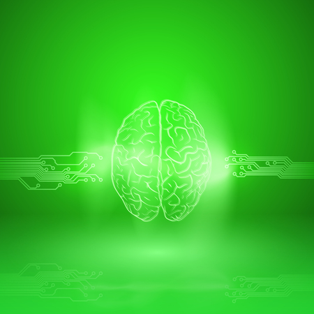 Digital brain on green background. For your business design. EPS10 vector.