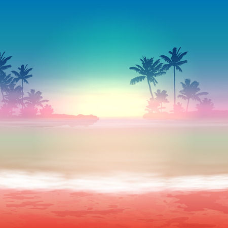 dark clouds: Sea sunset with palm trees. EPS10 vector.