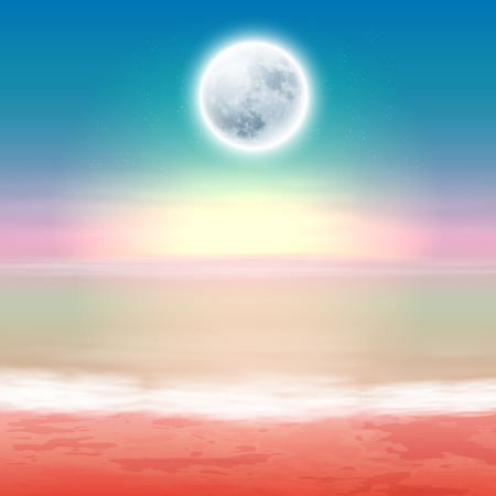 horizon over water: Beach with full moon at night. EPS10 vector. Illustration