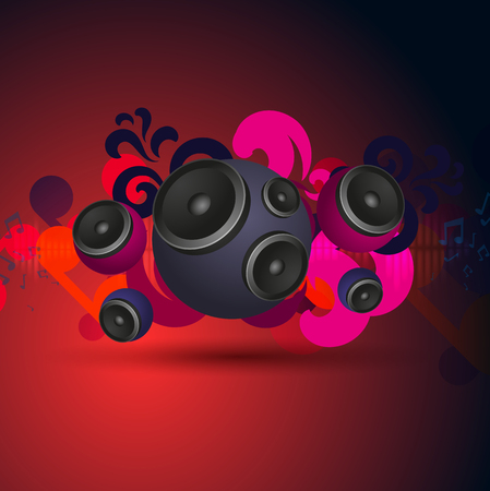speakers: Abstract red vintage music pattern with round speakers. EPS10 vector.